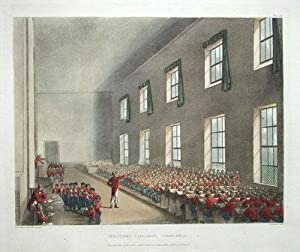 CHELSEA MILITARY COLLEGE, ACKERMANN,MICROCOSM OF LONDON antique print 1808
