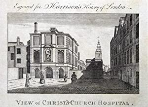 CHRIST'S CHURCH HOSPITAL, GREYFRIARS BLUECOAT SCHOOL, LONDON antique print 1776