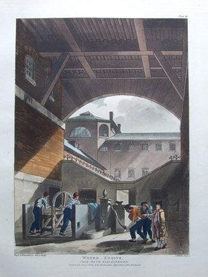 COLDBATH FIELDS PRISON, ACKERMANN, MICROCOSM OF LONDON antique print 1808