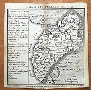 CUMBERLAND, CUMBRIA, BADESLADE & TOMS original miniature antique map 1741
