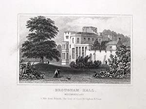 CUMBRIA,PENRITH, BROUGHAM HALL Antique Print c1840