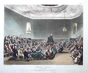 DEBATING SOCIETY, PICCADILLY, ACKERMANN, MICROCOSM OF LONDON antique print 1808