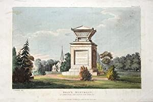 GRAYS MONUMENT,STOKE POGES Ackermann Antique Print 1824