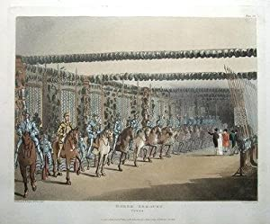 HORSE ARMOURY,TOWER OF LONDON, ACKERMANN,MICROCOSM OF LONDON antique print 1810