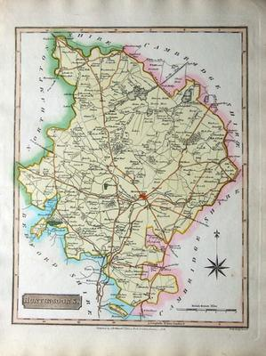 HUNTINGDONSHIRE, Robins UK Antique County Map 1818