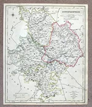 HUNTINGDONSHIRE, Hand Coloured Antique County Map 1837