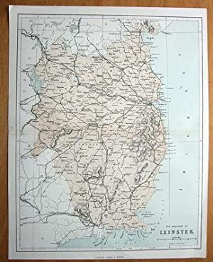IRELAND, LEINSTER. W.Hughes antique map c1870