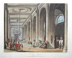 KING'S MEWS,HORSES CHARING CROSS, ACKERMANN,MICROCOSM, LONDON antique print 1808