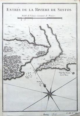 LIBERIA, R.CESS, AFRICA Bellin sea chart, Original antique map c1750