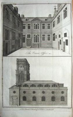 LONDON EXCISE OFFICE & SOUTHWARK antique print 1756