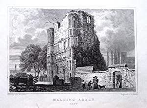 MALLING ABBEY,WEST MALLING, KENT Antique Print 1829