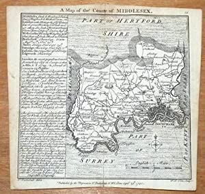 MIDDLESEX, LONDON , BADESLADE & TOMS original miniature antique map 1741