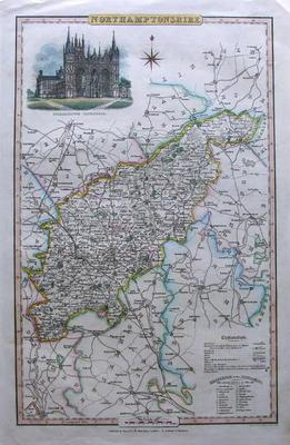NORTHAMPTONSHIRE James J.Pigot original antique map c1840