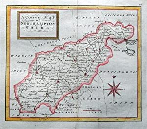 NORTHAMPTONSHIRE Osborne hand coloured original miniature antique map 1748
