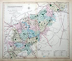 NORTHAMPTONSHIRE, WALKER, railways, original hand coloured antique map 1858