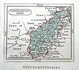 NORTHAMPTONSHIRE, Seller/ Grose Hand Coloured Antique County Map c1780
