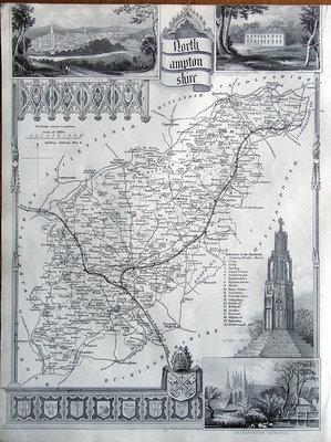 NORTHAMPTONSHIRE, Thomas Moule Antique County Map c1850