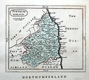 NORTHUMBERLAND, Seller/ Grose Hand Coloured Antique County Map c1780