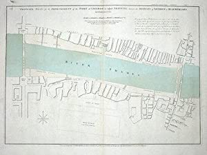 PORT OF LONDON EMBANKMENT PLAN R.Dodd Large original antique map 1800