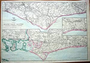SOUTH COAST RAILWAY,PORTSMOUTH, BRIGHTON,HASTINGS, Original Antique Map 1860