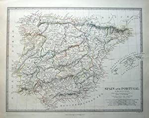 SPAIN AND PORTUGAL original antique map c1835