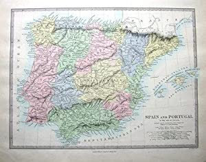 SPAIN, PORTUGAL, BALEARICS , SDUK Hand Coloured Antique Map 1857
