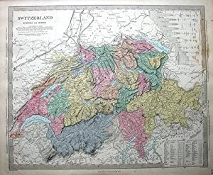 SWITZERLAND WITH MOUNTAIN PROFILE, SDUK Hand Coloured Antique Map 1857