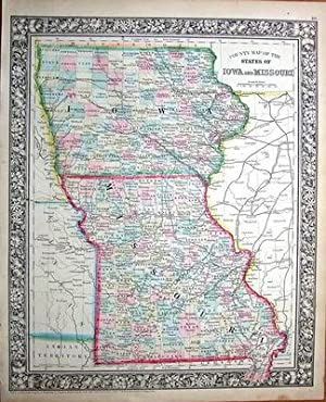 USA, IOWA & MISSOURI Augustus Mitchell Original Hand Coloured Antique Map 1861