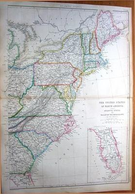 USA,ATLANTIC STATES ,MAINE TO FLORIDA Antique Map 1860