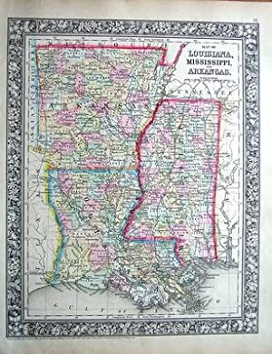 USA,LOUISIANA, MISSISSIPPI, ARKANSAS Mitchell, Original Hand Col Antique Map 1860