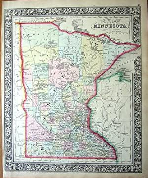 USA,MINNESOTA Mitchell, Original Hand Coloured Antique County Map 1862