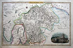 WESTMORELAND, CUMBRIA J.Pigot original hand coloured illustrated antique map c1840
