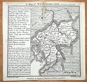 WESTMORELAND, CUMBRIA, BADESLADE & TOMS original miniature antique map 1741