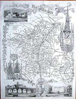 WORCESTERSHIRE Thomas Moule Antique County Map c1850