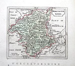 WORCESTERSHIRE, Seller/ Grose Hand Coloured Antique County Map c1780