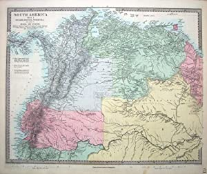 SOUTH AMERICA, PANAMA, ECUADOR,COLOMBIA, VENUZUELA original antique map c1850