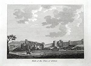 WALES, CONWAY, CONWY TOWN WALLS Antique Print 1786