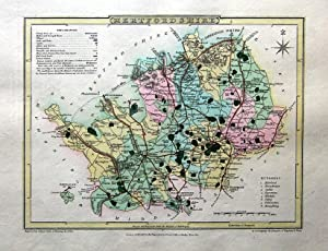 HERTFORDSHIRE, Hand Coloured Antique County Map , Cole & Roper 1805