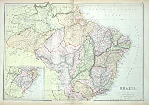 BRAZIL, Blackie original antique colour map 1882