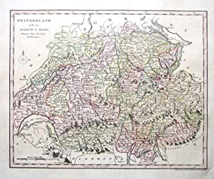 SWITZERLAND, Hand Coloured Antique Map c1810