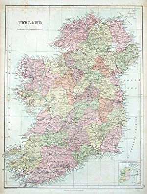 IRELAND, A&C Black original antique map 1876