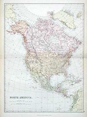 NORTH AMERICA, UNITED STATES, CANADA Blackie original antique map 1882