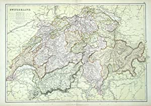 SWITZERLAND, Blackie. original antique colour map 1882
