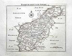NORTHAMPTONSHIRE, John Roque, England Displayed, Antique County Map 1769