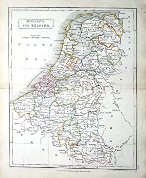 NETHERLANDS, HOLLAND, BELGIUM, LUXEMBOURG, Sidney Hall Antique Map c1840
