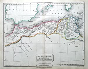 NORTH AFRICA,MAURITANIA, NUMIDIA Original Classical Antique Map c1840