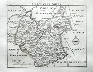 LEICESTERSHIRE, John Roque, England Displayed,Original Antique County Map 1769