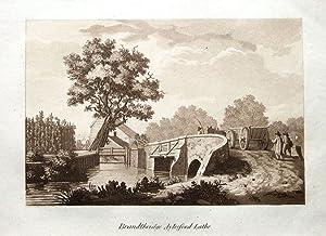 AYLESFORD BRIDGE OLD BOATS KENT VINTAGE MOUNTED PRINT