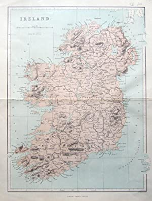 IRELAND, J.Virtue original antique map 1868