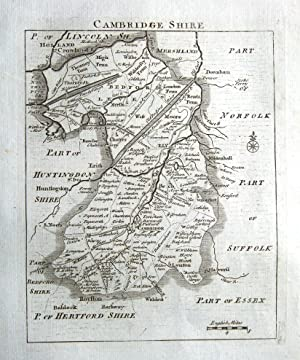 CAMBRIDGESHIRE, John Roque, England Displayed, Antique County Map 1769